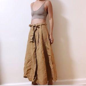Zara Mustard Striped midi skirt